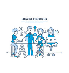 Creative discussion business team collaboration vector