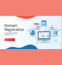 domain registration banner computer with vector image