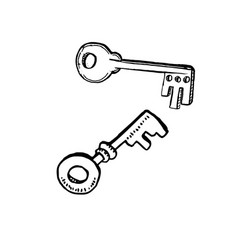 door keys in sketch style hand drawn vector image