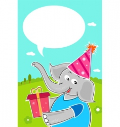 elephant with birthday gift vector image
