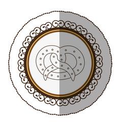 Emblem silhouette pretzel bread icon vector