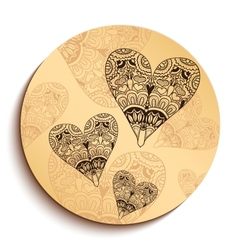 Ethnic Wooden Plate with Hearts Isolated on White vector image