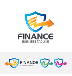 finance shield logo design vector image
