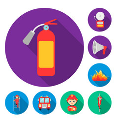 fire department flat icons in set collection for vector image