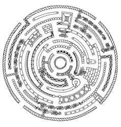 Floral wreath pattern labyrinth with dots lines vector image