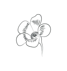 flower simple black lined icon on white background vector image