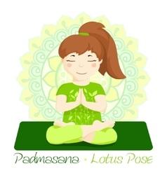 girl in Padmasana with mandala background 2 vector image
