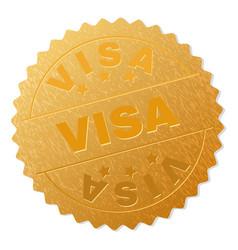 gold visa medal stamp vector image