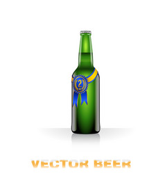Green beer bottle vector