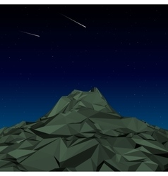 Green Mountain low polygon landscape night vector