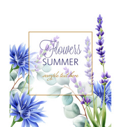 Greeting card with place for text blue cornflower vector
