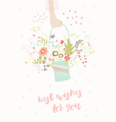hand holding bouquet flowers vector image
