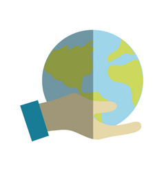 Hand with earth planet to environment care vector