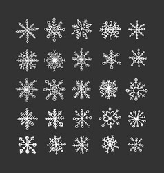 handdrawn snowflakes snow and winter vector image