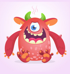 Happy cartoon fluffy monster character vector