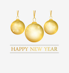 happy new year golden christmas balls with golden vector image