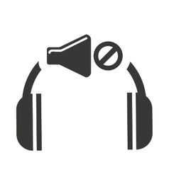 Headset silhouette with audio icon vector