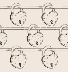 heart shaped lock seamless pattern engraving vector image