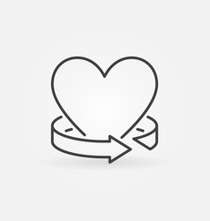 heart with arrow around outline icon or vector image