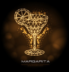 hipster polygonal cocktail margarita neon sign vector image