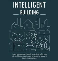 intelligent building banner outline style vector image