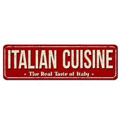 Italian cuisine vintage rusty metal sign vector