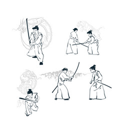 japanese chinese design samurai card isolated vector image