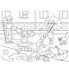 kids coloring children playing in rainy vector image