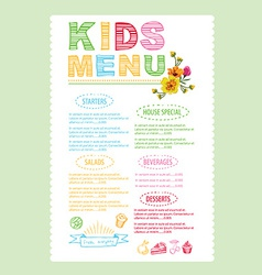 Kids menu template vector image