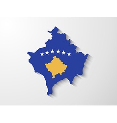 Kosovo country map with shadow effect presentation vector image
