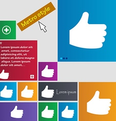 Like thumb up icon sign metro style buttons modern vector