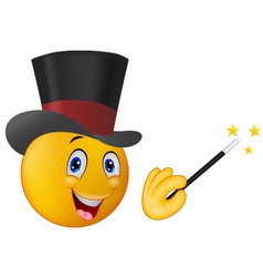 magician in top hat with magic wand showing trick vector image