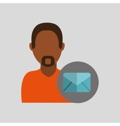 Man african email message icon design graphic vector