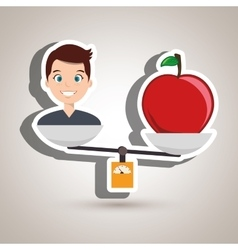 Man cartoon fruit apple balance vector