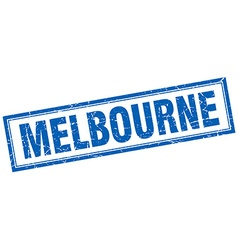 Melbourne blue square grunge stamp on white vector