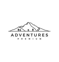 Mountain pine wood adventure logo icon vector