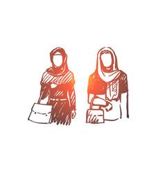 muslim woman arab islam hijab concept hand vector image