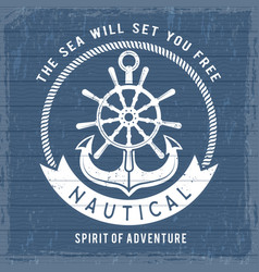 nautical anchor poster ocean marina navy symbols vector image