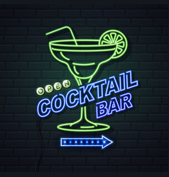 Neon sign cocktail bar on brick wall background vector