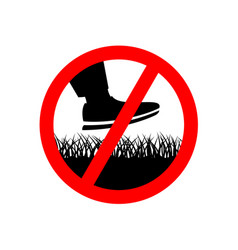 No step on the lawn grass prohibition sign vector