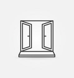 open window icon sign in thin line style vector image