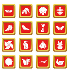 Origami icons set red square vector