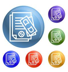 paper pass bribery icons set vector image
