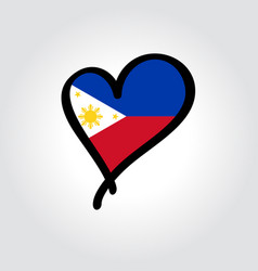 Philippines flag heart-shaped hand drawn logo vector