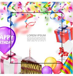 realistic happy birthday template vector image