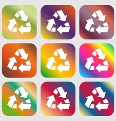 Recycle icon Nine buttons with bright gradients vector