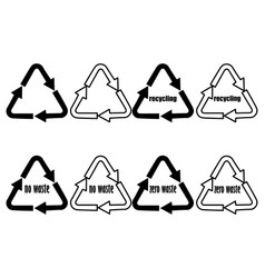 recycling - no waste - zero waste recycle logo vector image