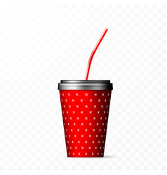 red paper cup with black lid and straw vector image