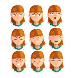 Redhead girl with emotional face set female vector