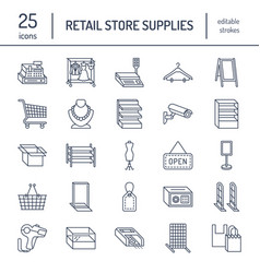 retail store supplies line icons trade shop vector image